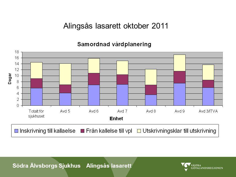 Södra Älvsborgs Sjukhus Alingsås lasarett Antal betaldagar 2011