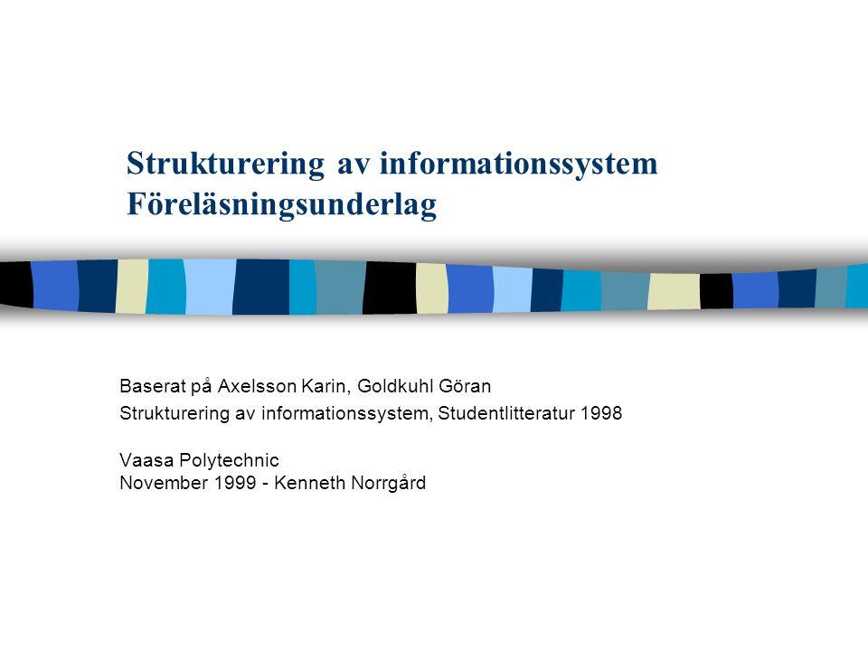 Strukturering av informationssystem Föreläsningsunderlag Baserat på Axelsson Karin, Goldkuhl Göran Strukturering av informationssystem, Studentlittera