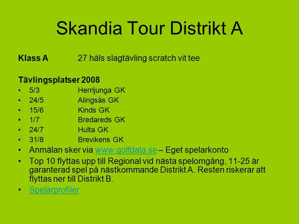 Skandia Tour Distrikt A Klass A27 håls slagtävling scratch vit tee Tävlingsplatser 2008 5/3Herrljunga GK 24/5Alingsås GK 15/6Kinds GK 1/7Bredareds GK 24/7Hulta GK 31/8Brevikens GK Anmälan sker via www.golfdata.se – Eget spelarkontowww.golfdata.se Top 10 flyttas upp till Regional vid nästa spelomgång, 11-25 är garanterad spel på nästkommande Distrikt A.
