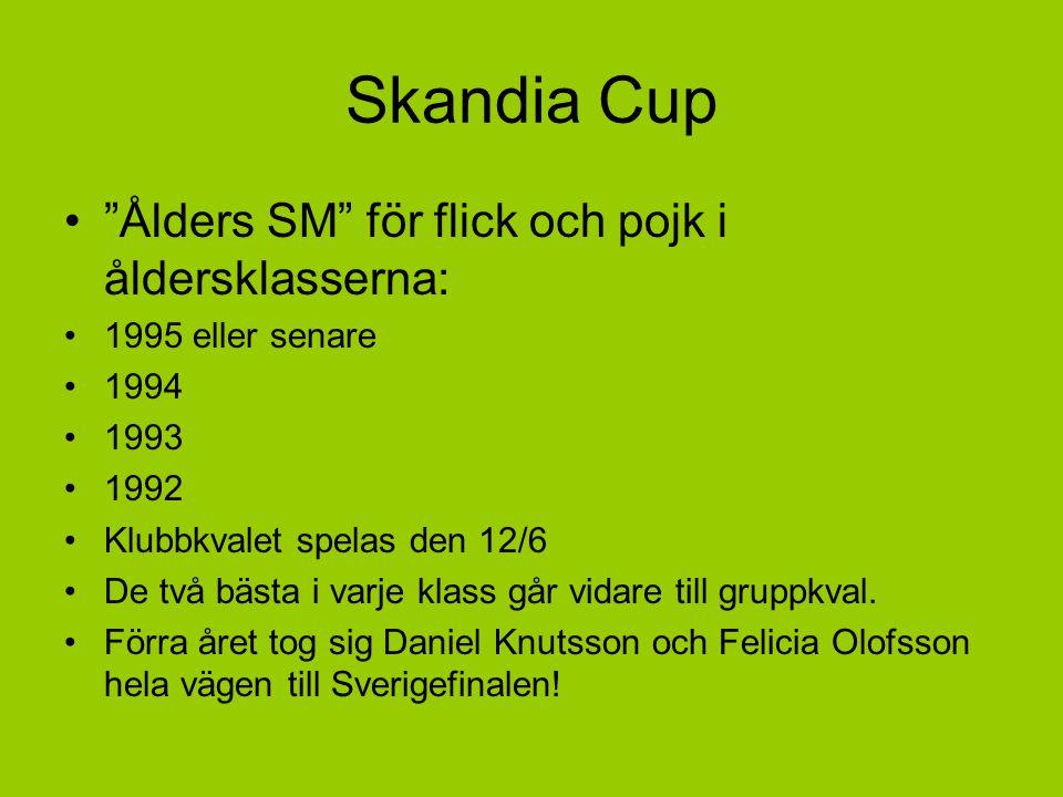 Skandia Cup Ålders SM för flick och pojk i åldersklasserna: 1995 eller senare 1994 1993 1992 Klubbkvalet spelas den 12/6 De två bästa i varje klass går vidare till gruppkval.