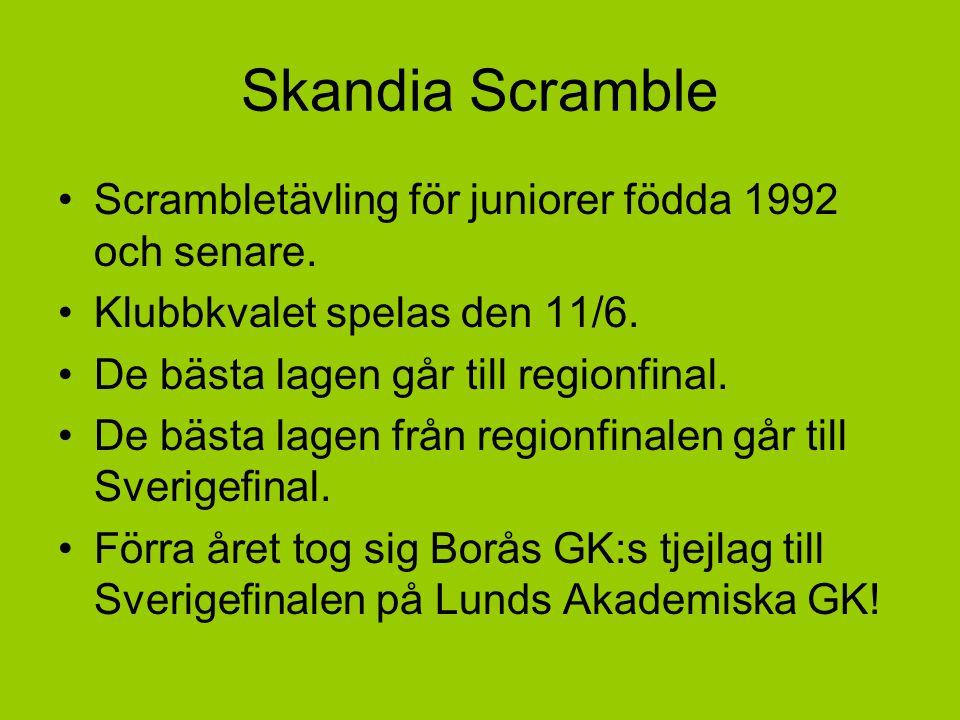 Skandia Scramble Scrambletävling för juniorer födda 1992 och senare. Klubbkvalet spelas den 11/6. De bästa lagen går till regionfinal. De bästa lagen