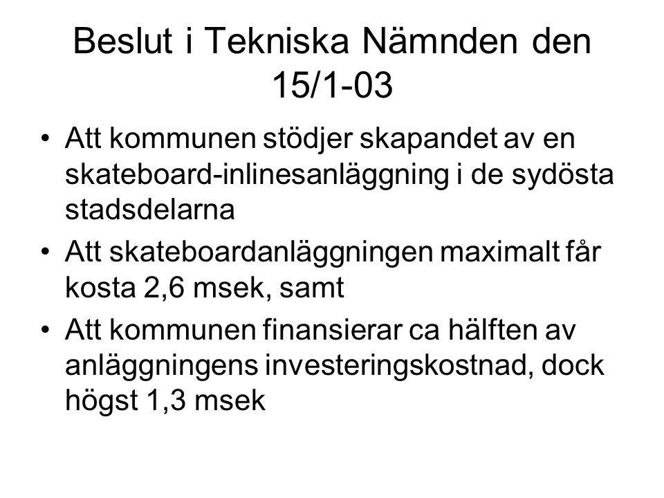 Beslut i Tekniska Nämnden den 15/1-03 Att kommunen stödjer skapandet av en skateboard-inlinesanläggning i de sydösta stadsdelarna Att skateboardanlägg