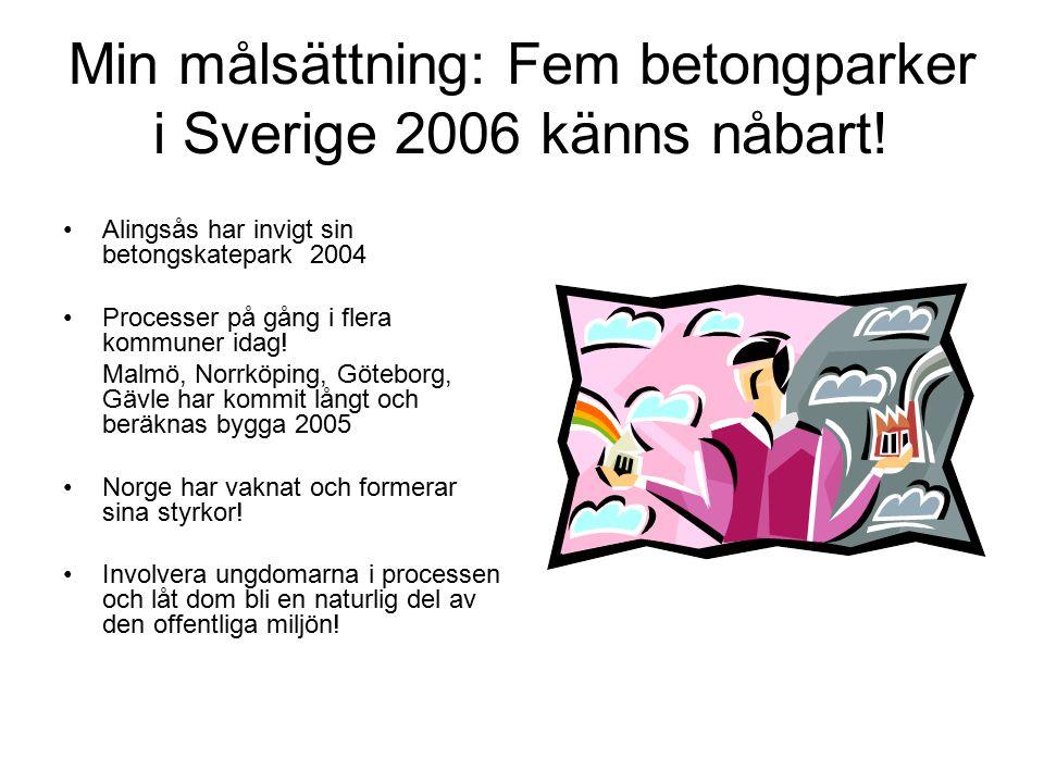 Min målsättning: Fem betongparker i Sverige 2006 känns nåbart! Alingsås har invigt sin betongskatepark 2004 Processer på gång i flera kommuner idag! M