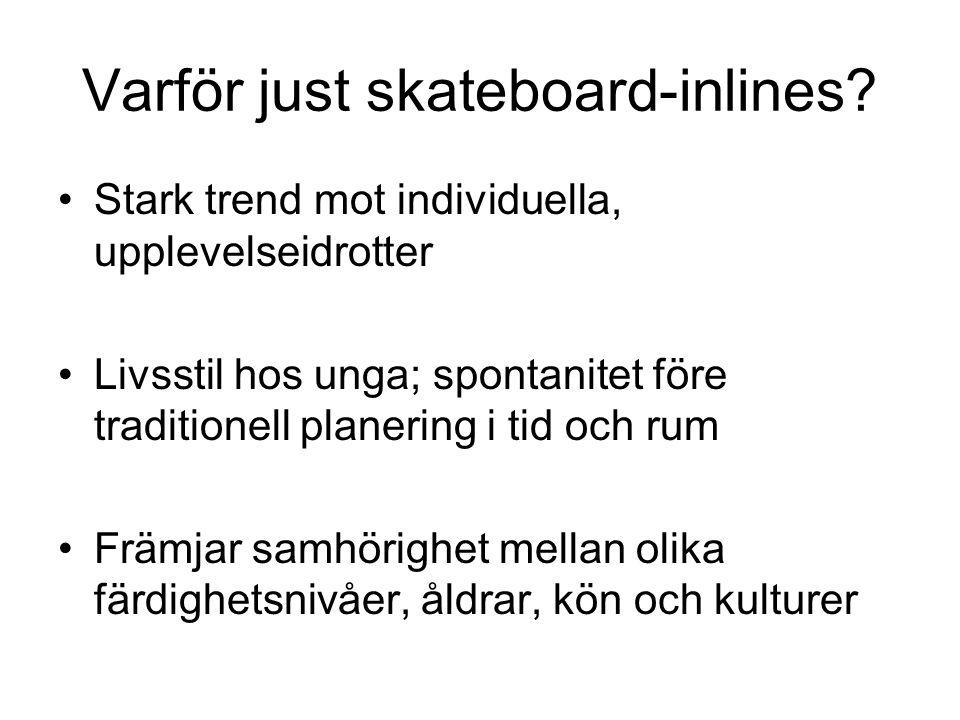 Varför just skateboard-inlines? Stark trend mot individuella, upplevelseidrotter Livsstil hos unga; spontanitet före traditionell planering i tid och
