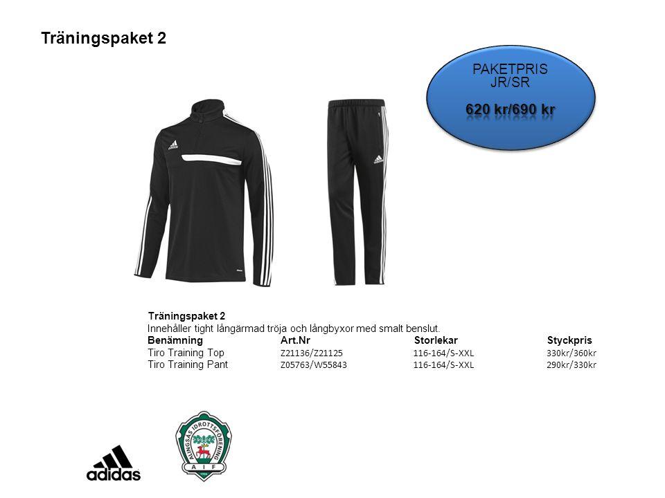 Träningspaket 2 Innehåller tight långärmad tröja och långbyxor med smalt benslut. BenämningArt.NrStorlekarStyckpris Tiro Training Top Z21136/Z21125 11