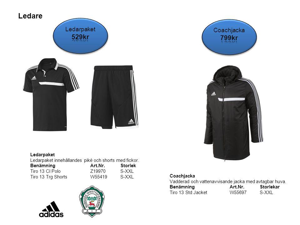 Ledare Ledarpaket Ledarpaket innehållandes piké och shorts med fickor. BenämningArt.Nr.Storlek Tiro 13 Cl PoloZ19970 S-XXL Tiro 13 Trg ShortsW55419 S-