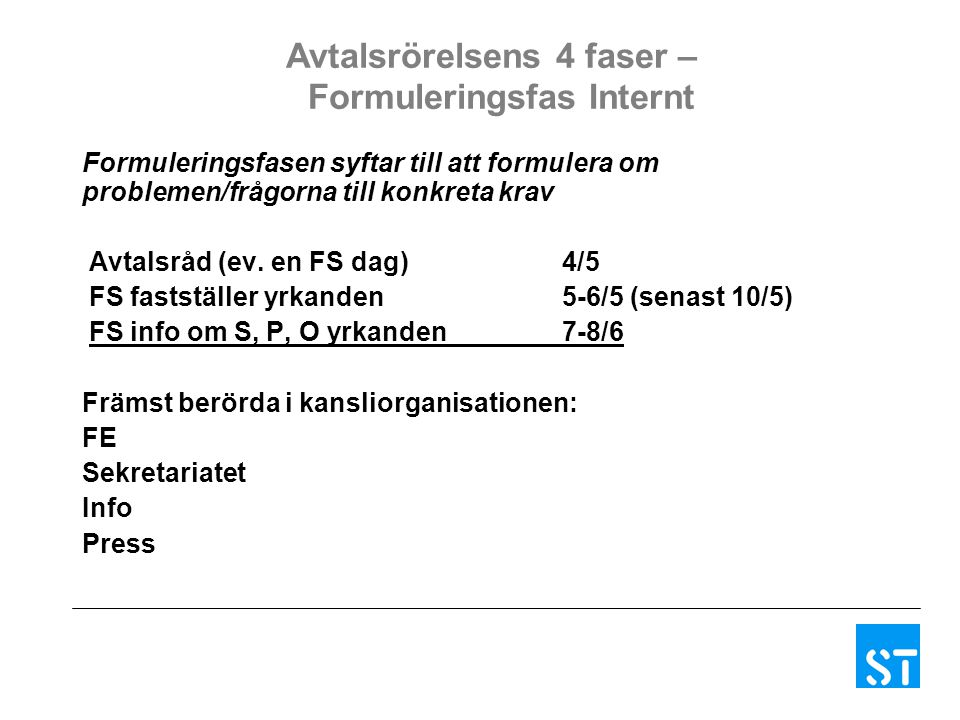 Avtalsrörelsens 4 faser – Formuleringsfas Internt Formuleringsfasen syftar till att formulera om problemen/frågorna till konkreta krav Avtalsråd (ev.