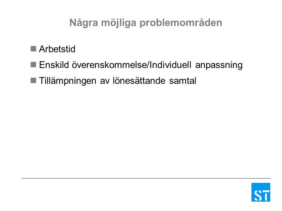 Några möjliga problemområden Arbetstid Enskild överenskommelse/Individuell anpassning Tillämpningen av lönesättande samtal