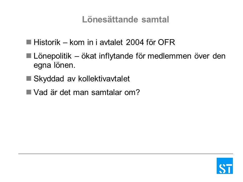 Lönesättande samtal Historik – kom in i avtalet 2004 för OFR Lönepolitik – ökat inflytande för medlemmen över den egna lönen.