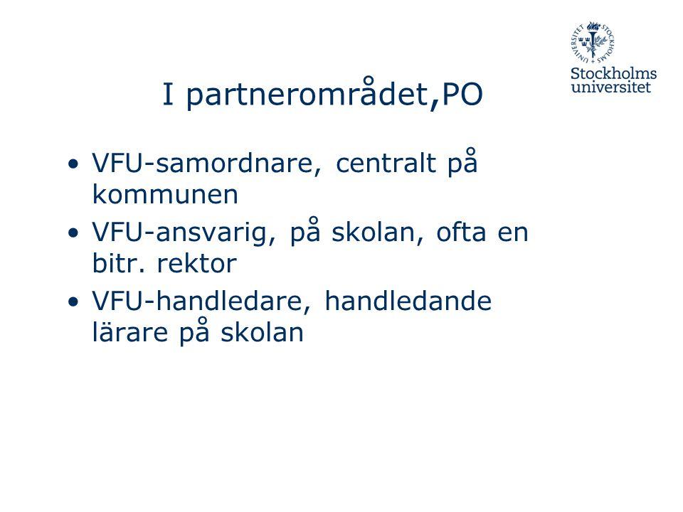 I partnerområdet, PO VFU-samordnare, centralt på kommunen VFU-ansvarig, på skolan, ofta en bitr. rektor VFU-handledare, handledande lärare på skolan