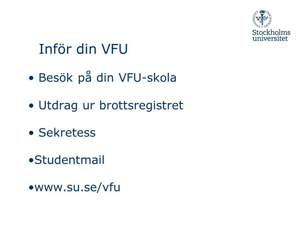 Inför din VFU Besök på din VFU-skola Utdrag ur brottsregistret Sekretess Studentmail www.su.se/vfu
