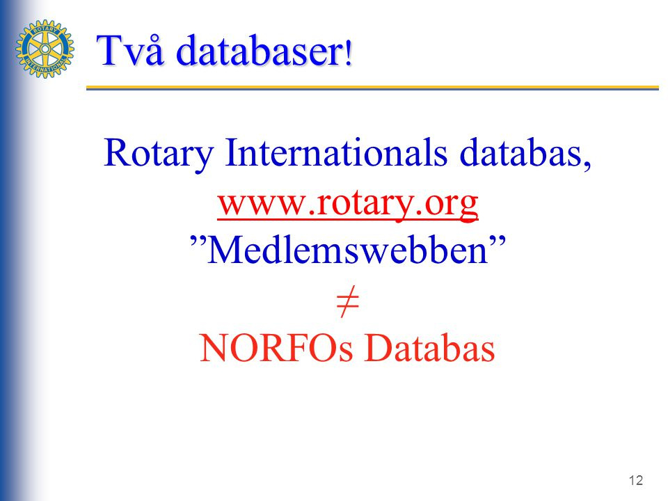 12 Rotary Internationals databas, www.rotary.org Medlemswebben ≠ NORFOs Databas 2-n CDS Session 2 Två databaser !