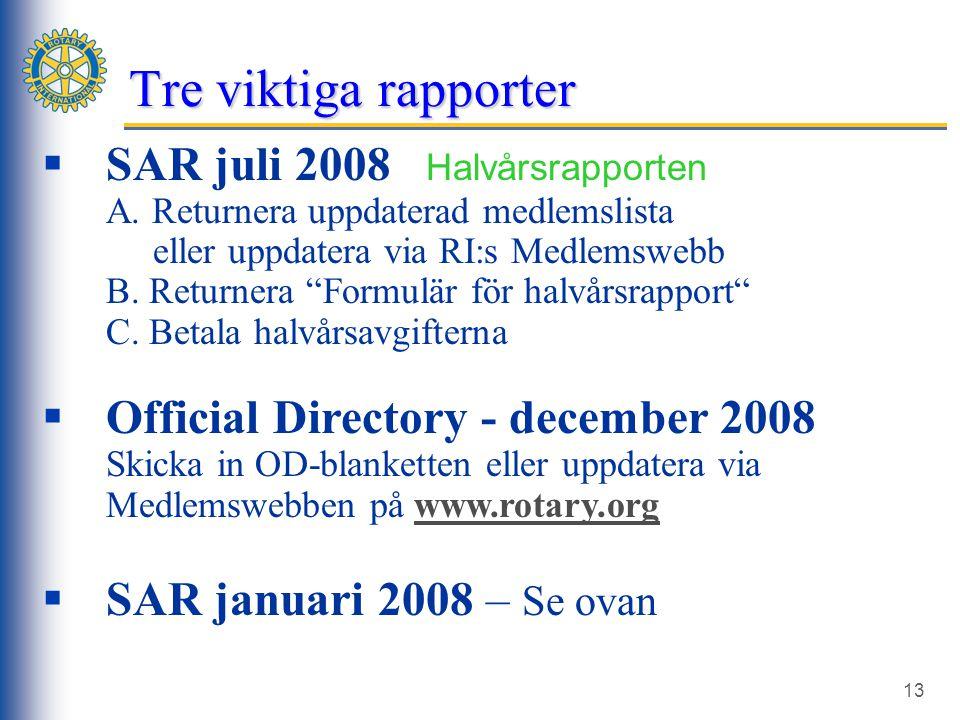 13  SAR juli 2008 Halvårsrapporten A.