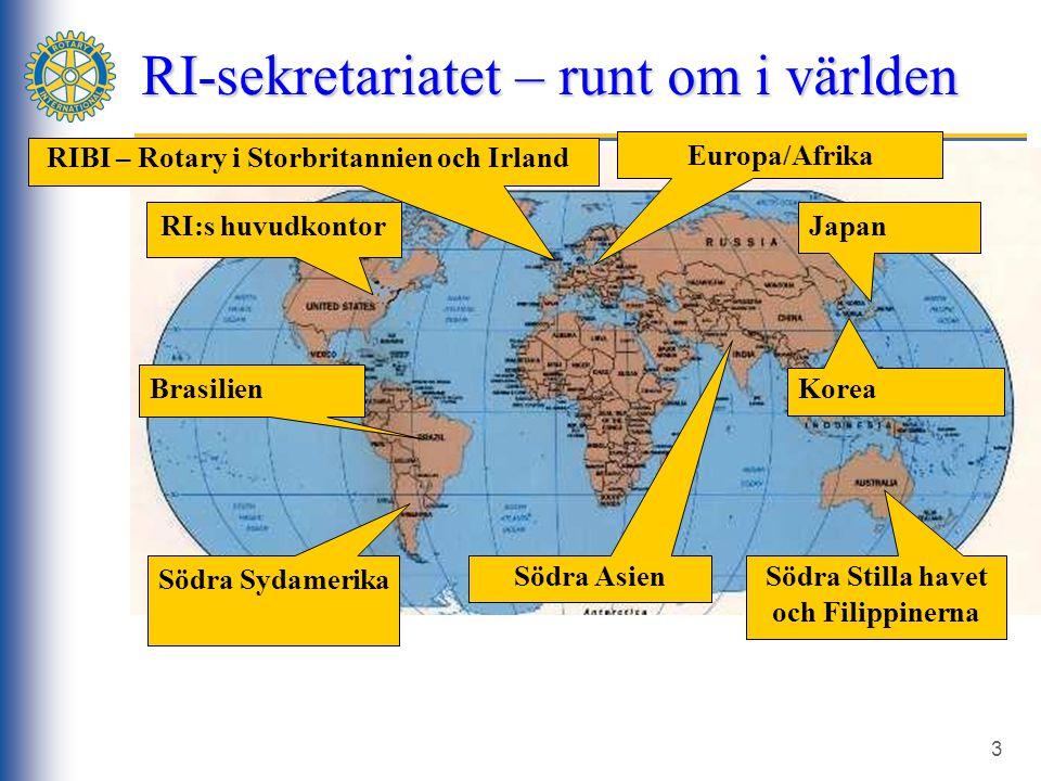 3 RI:s huvudkontor Södra Sydamerika Södra Stilla havet och Filippinerna Europa/Afrika Brasilien Japan Korea Södra Asien RI-sekretariatet – runt om i världen RIBI – Rotary i Storbritannien och Irland
