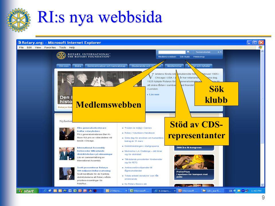9 RI:s nya webbsida Stöd av CDS- representanter Medlemswebben Sök klubb