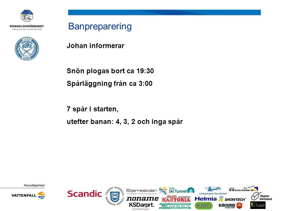 Banpreparering Johan informerar Snön plogas bort ca 19:30 Spårläggning från ca 3:00 7 spår i starten, utefter banan: 4, 3, 2 och inga spår