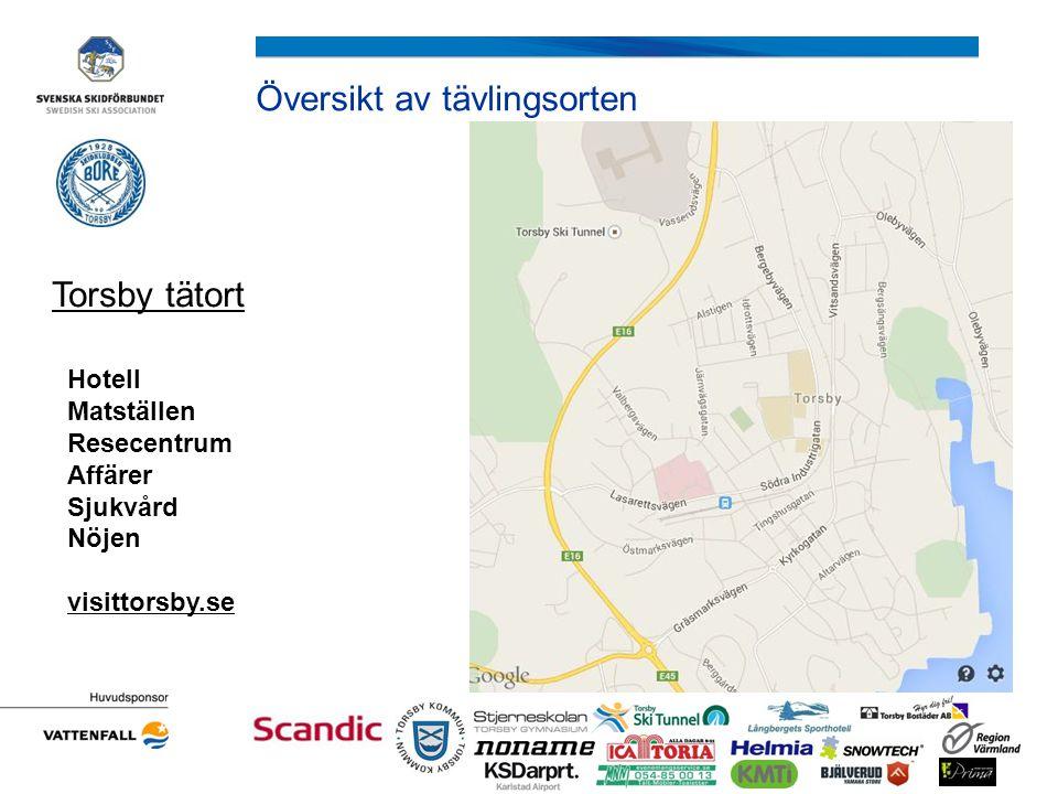 Översikt av tävlingsorten Torsby tätort Hotell Matställen Resecentrum Affärer Sjukvård Nöjen visittorsby.se