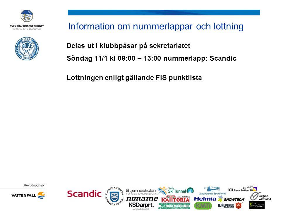 Information om nummerlappar och lottning Delas ut i klubbpåsar på sekretariatet Söndag 11/1 kl 08:00 – 13:00 nummerlapp: Scandic Lottningen enligt gäl