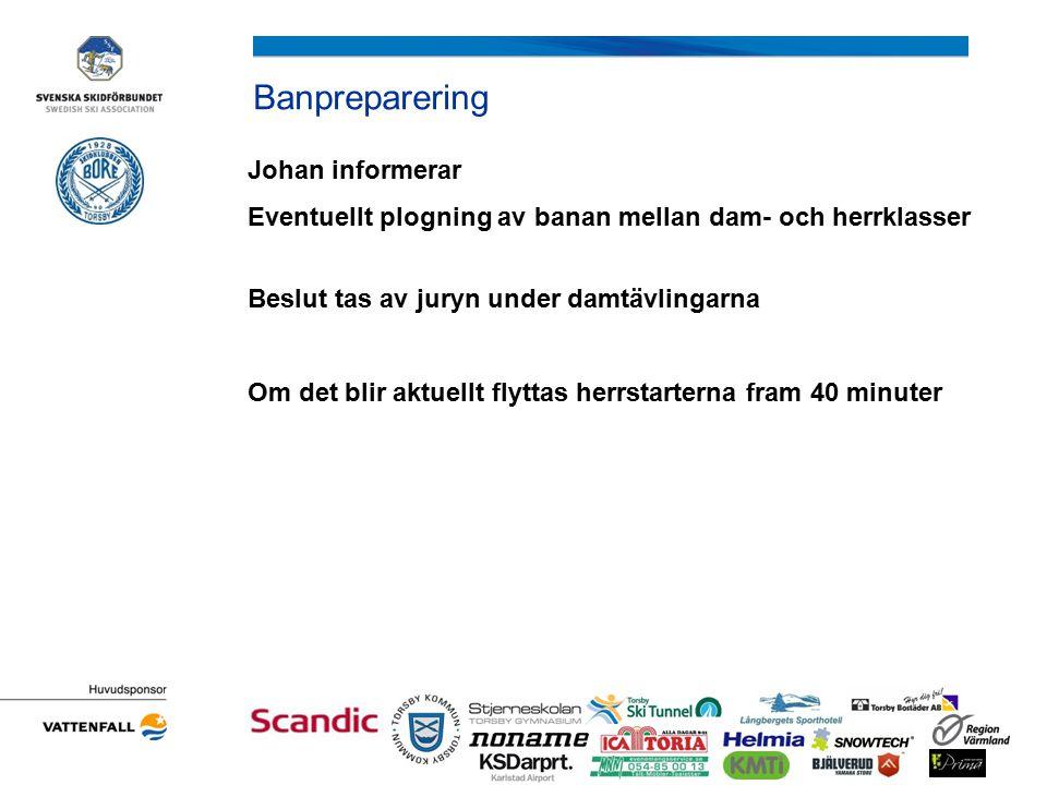 Banpreparering Johan informerar Eventuellt plogning av banan mellan dam- och herrklasser Beslut tas av juryn under damtävlingarna Om det blir aktuellt flyttas herrstarterna fram 40 minuter