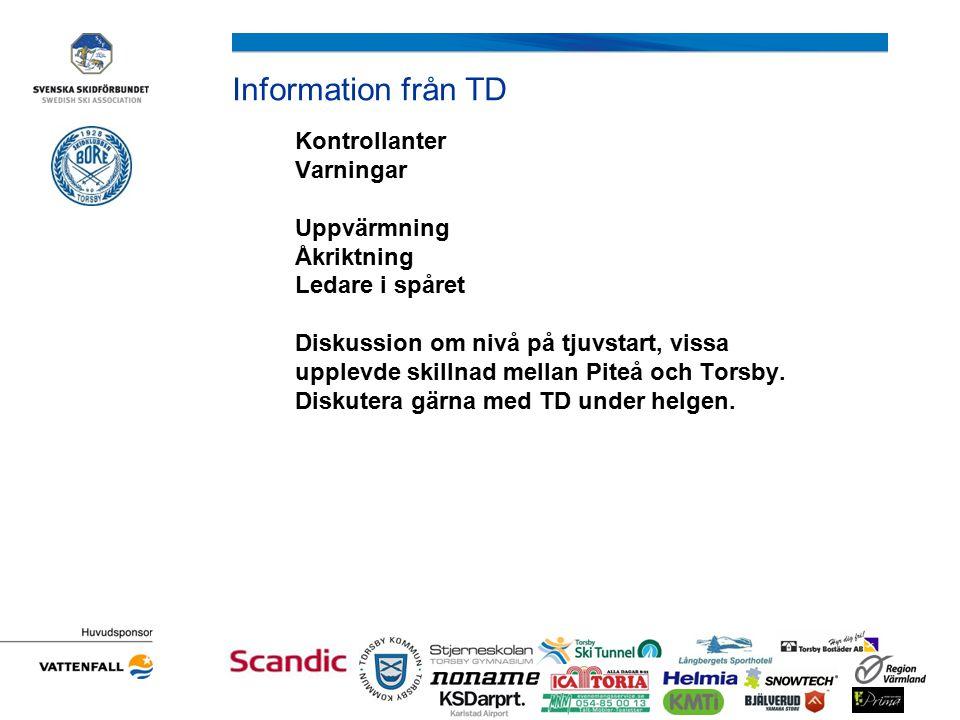 Information från TD Kontrollanter Varningar Uppvärmning Åkriktning Ledare i spåret Diskussion om nivå på tjuvstart, vissa upplevde skillnad mellan Piteå och Torsby.