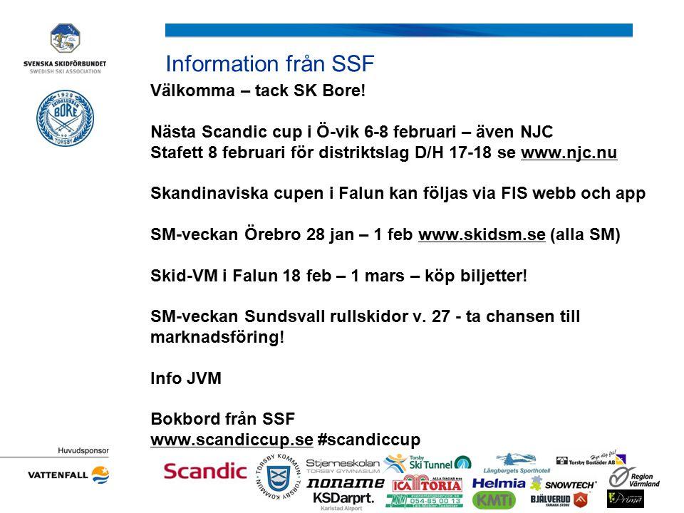 Information från SSF Välkomma – tack SK Bore! Nästa Scandic cup i Ö-vik 6-8 februari – även NJC Stafett 8 februari för distriktslag D/H 17-18 se www.n