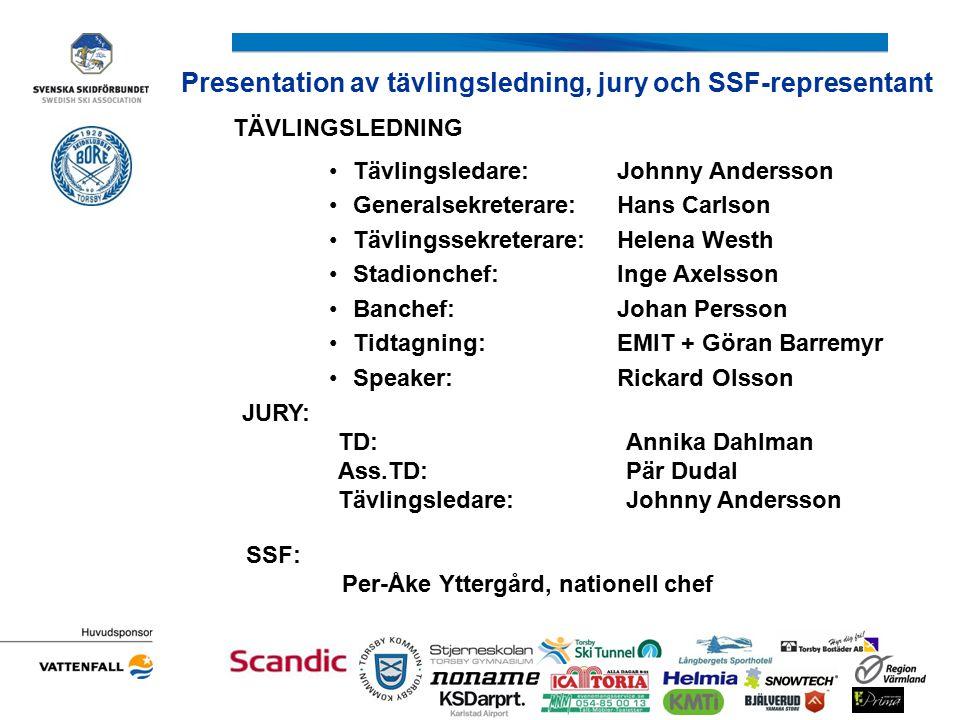 Presentation av tävlingsledning, jury och SSF-representant TÄVLINGSLEDNING Tävlingsledare:Johnny Andersson Generalsekreterare:Hans Carlson Tävlingssek