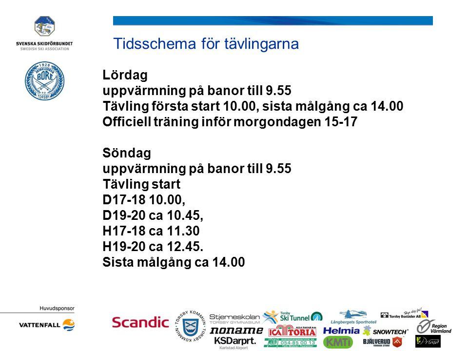 Tidsschema för tävlingarna Lördag uppvärmning på banor till 9.55 Tävling första start 10.00, sista målgång ca 14.00 Officiell träning inför morgondagen 15-17 Söndag uppvärmning på banor till 9.55 Tävling start D17-18 10.00, D19-20 ca 10.45, H17-18 ca 11.30 H19-20 ca 12.45.