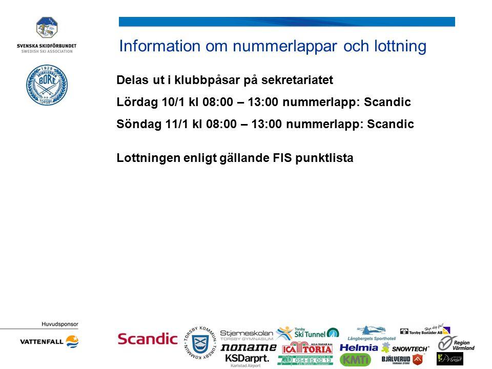 Information om nummerlappar och lottning Delas ut i klubbpåsar på sekretariatet Lördag 10/1 kl 08:00 – 13:00 nummerlapp: Scandic Söndag 11/1 kl 08:00