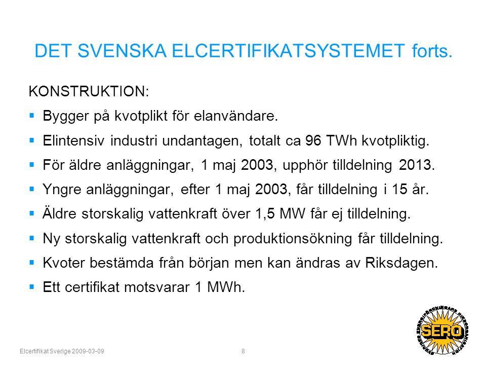 Elcertifikat Sverige 2009-03-09 8 DET SVENSKA ELCERTIFIKATSYSTEMET forts.