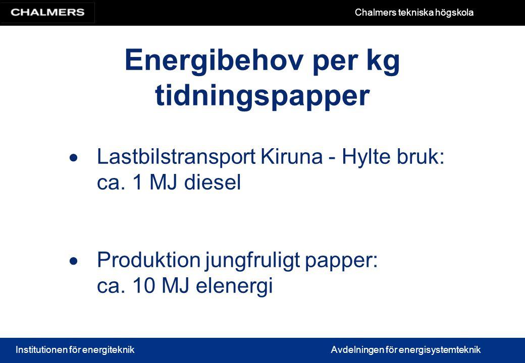 Chalmers tekniska högskola Institutionen för energiteknikAvdelningen för energisystemteknik Energibehov per kg tidningspapper  Lastbilstransport Kiru