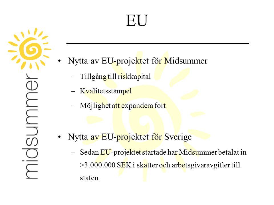 EU Nytta av EU-projektet för Midsummer –Tillgång till riskkapital –Kvalitetsstämpel –Möjlighet att expandera fort Nytta av EU-projektet för Sverige –S