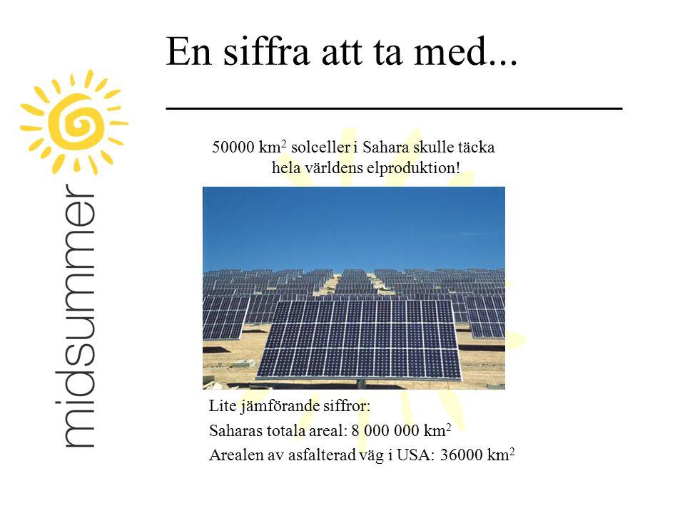 En siffra att ta med... 50000 km 2 solceller i Sahara skulle täcka hela världens elproduktion! Lite jämförande siffror: Saharas totala areal: 8 000 00
