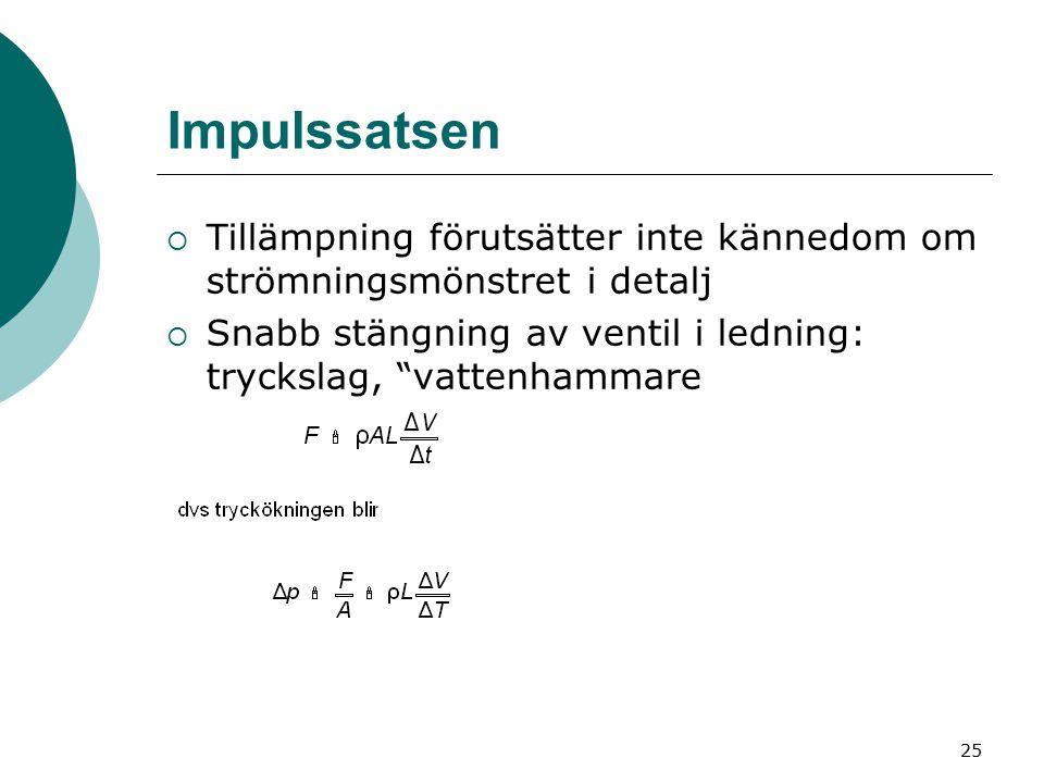 26 ΔV =hastighetsminskningen = vattnets hastighet före stängning om ventilen stängs helt (m/s) Δt =tid för stängningen (s) L =ledningens längd (m) A =ledningens/ventilens tvärsnittsarea (m 2 ) Δp =tryckökning på grund av vattenmassans uppbromsning (Pa) ρ =vattnets densitet (kg/m 3 )