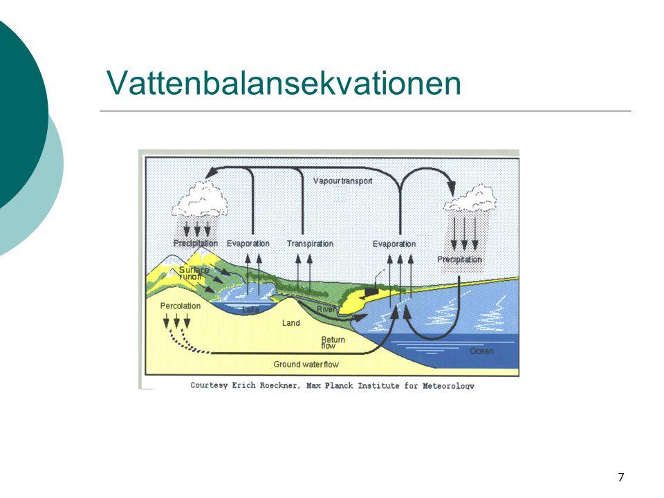8  P = R + E + S (L 3 L -2 T -1 = L/T) P = nederbörd (mm/år) R = avrinning (mm/år) E =avdunstning + transpiration från växter (mm/år) S = förändring av den vattenmängd som magasineras i sjöar, som grundvatten eller som snö (mm/år)  Exempel: Östra SvealandSvenska fjällen P = 600 mm/årP = 1 200 mm/år E = 400 mm/årE = 200 mm/år R = 200 mm/år R = 1 000 mm/år