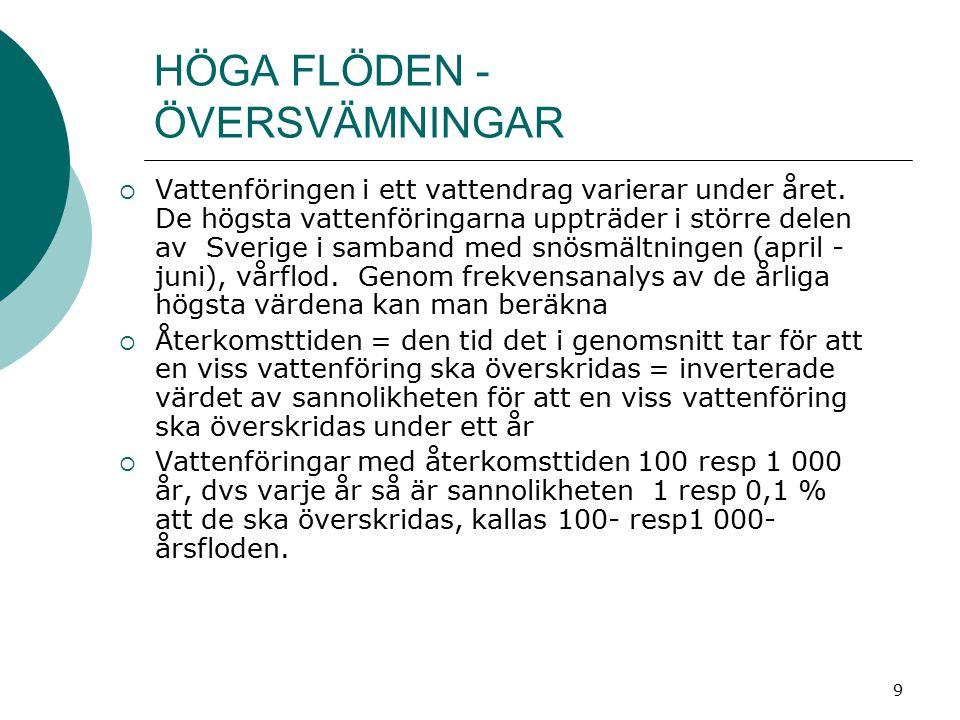 9 HÖGA FLÖDEN - ÖVERSVÄMNINGAR  Vattenföringen i ett vattendrag varierar under året. De högsta vattenföringarna uppträder i större delen av Sverige i