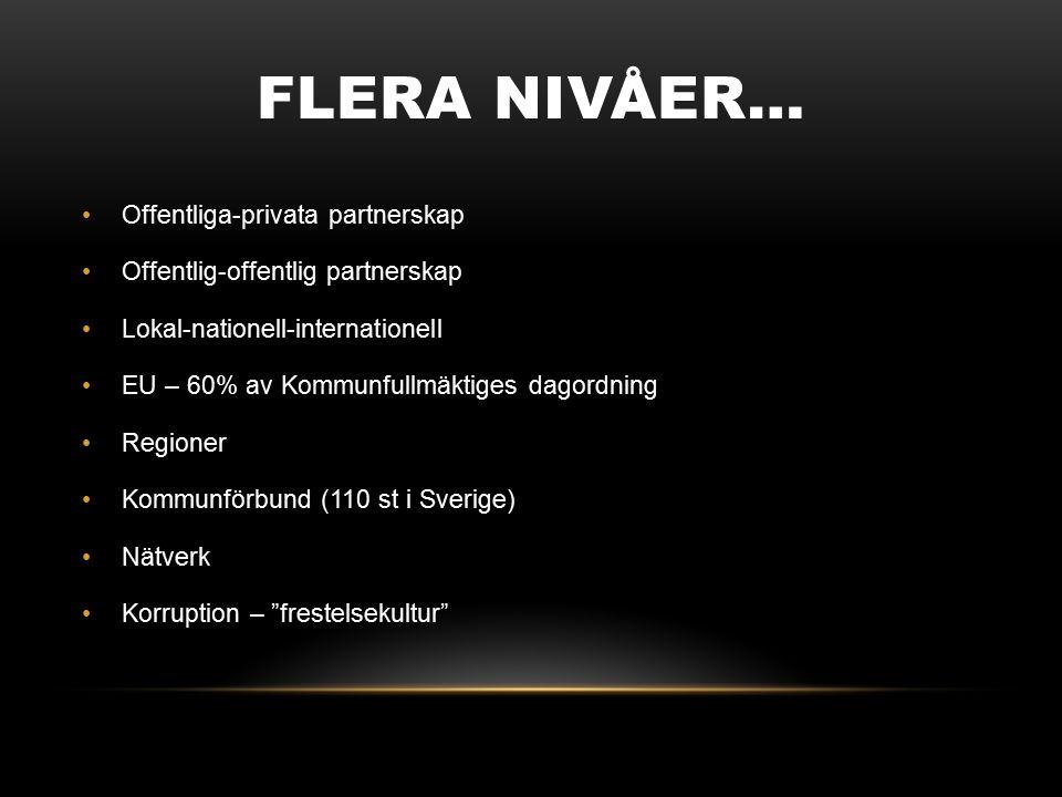 FLERA NIVÅER… Offentliga-privata partnerskap Offentlig-offentlig partnerskap Lokal-nationell-internationell EU – 60% av Kommunfullmäktiges dagordning Regioner Kommunförbund (110 st i Sverige) Nätverk Korruption – frestelsekultur