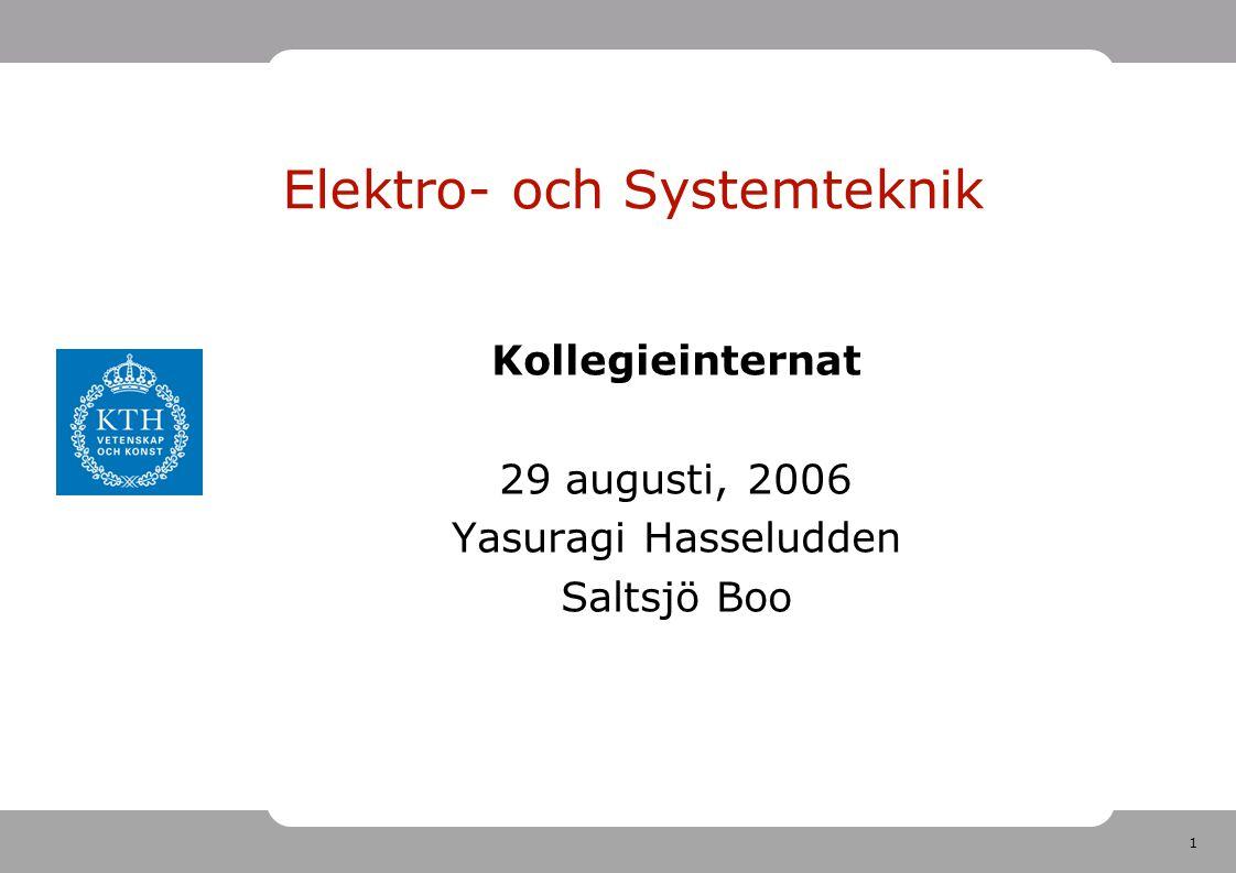 1 Elektro- och Systemteknik Kollegieinternat 29 augusti, 2006 Yasuragi Hasseludden Saltsjö Boo