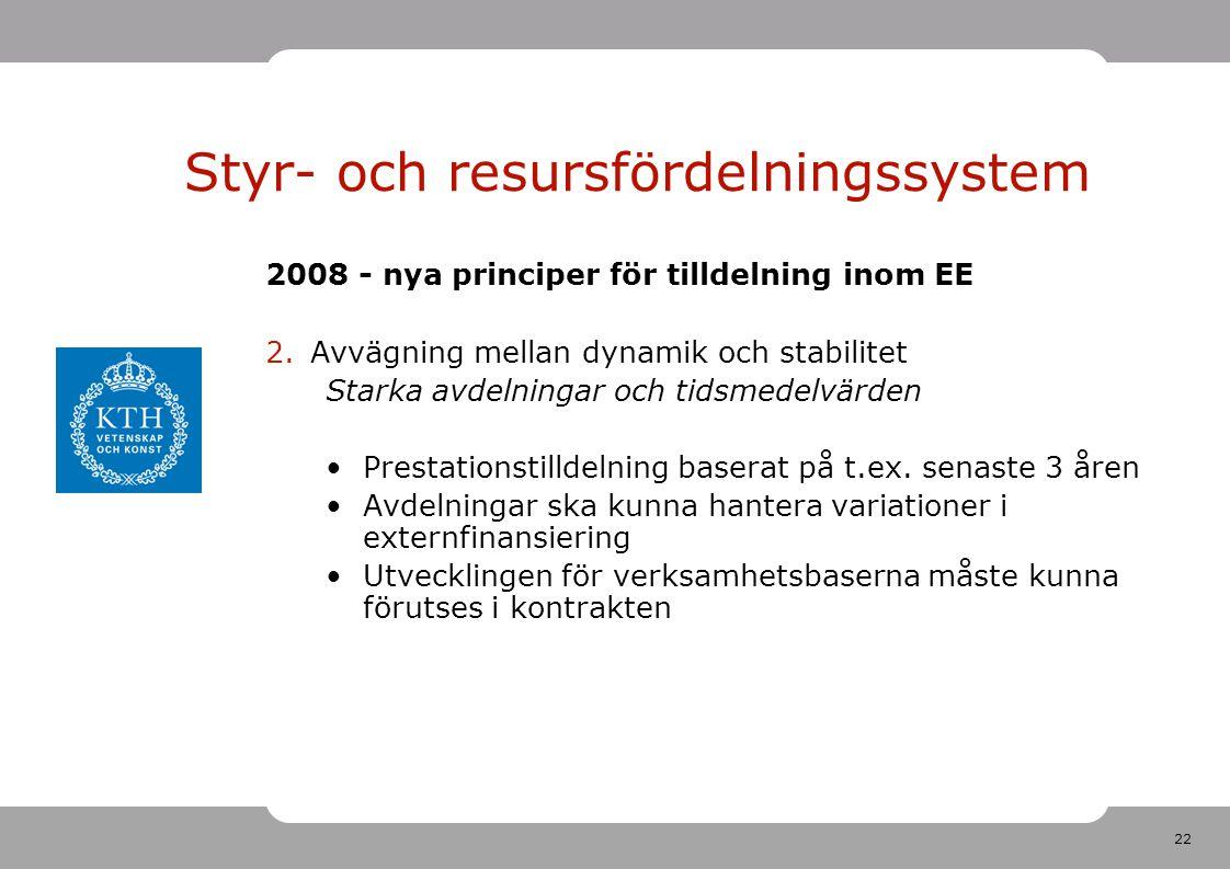 22 2008 - nya principer för tilldelning inom EE 2.Avvägning mellan dynamik och stabilitet Starka avdelningar och tidsmedelvärden Prestationstilldelning baserat på t.ex.