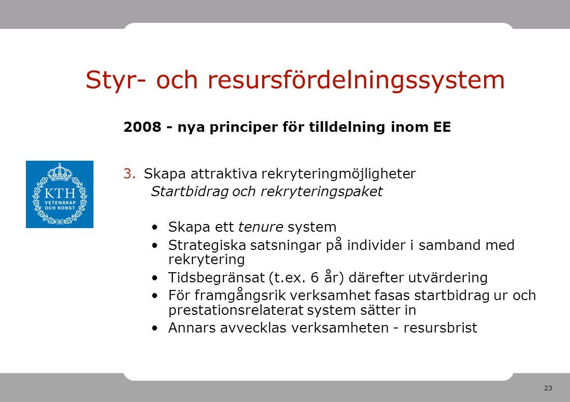 23 2008 - nya principer för tilldelning inom EE 3.Skapa attraktiva rekryteringmöjligheter Startbidrag och rekryteringspaket Skapa ett tenure system Strategiska satsningar på individer i samband med rekrytering Tidsbegränsat (t.ex.