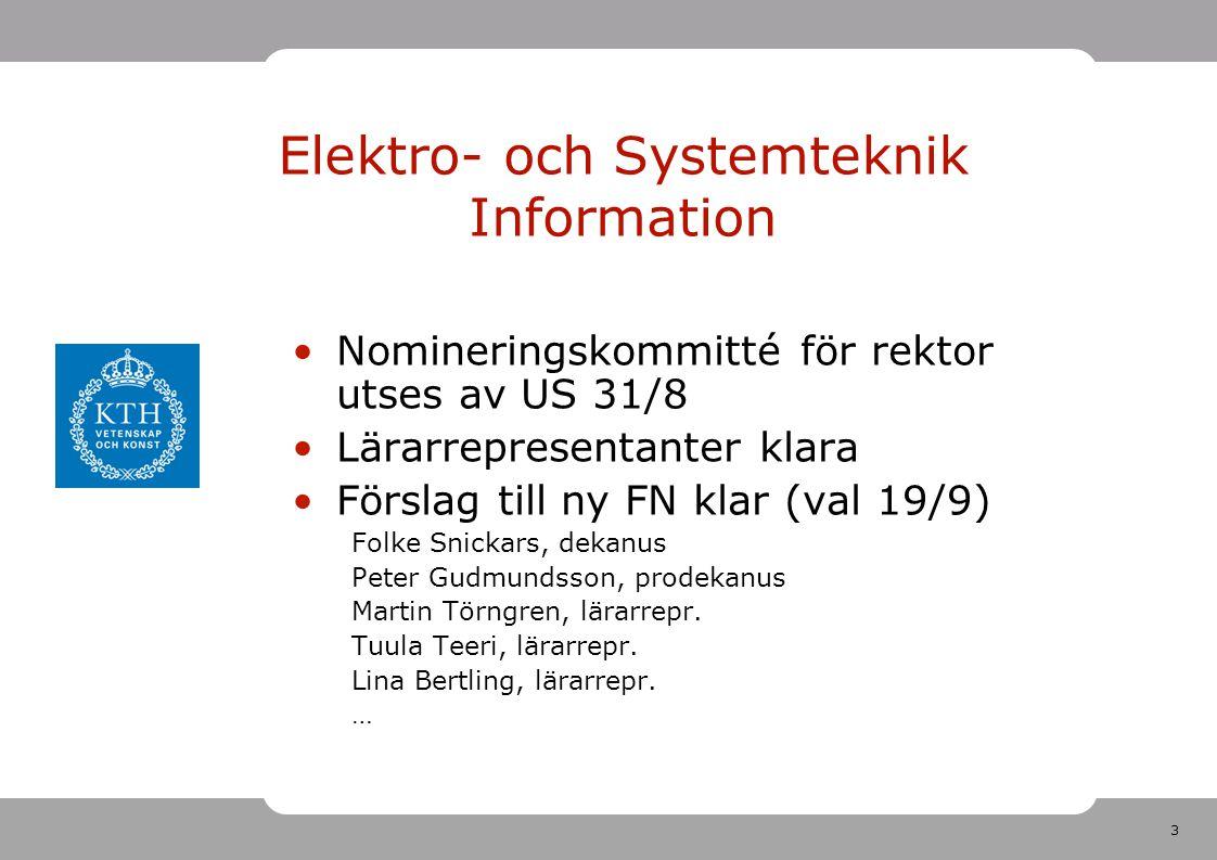 3 Elektro- och Systemteknik Information Nomineringskommitté för rektor utses av US 31/8 Lärarrepresentanter klara Förslag till ny FN klar (val 19/9) Folke Snickars, dekanus Peter Gudmundsson, prodekanus Martin Törngren, lärarrepr.