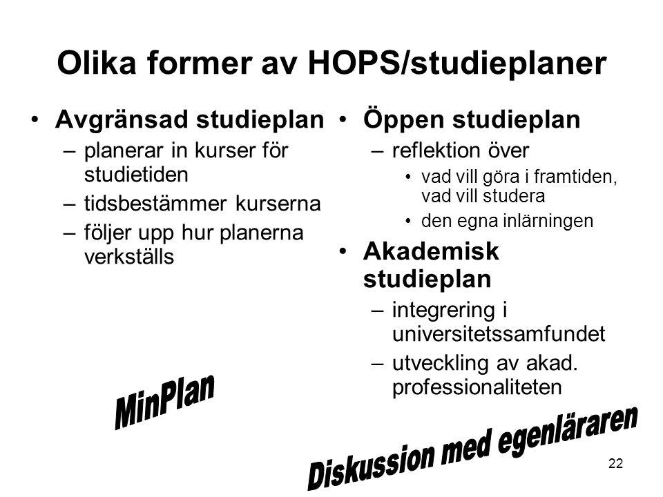 22 Olika former av HOPS/studieplaner Avgränsad studieplan –planerar in kurser för studietiden –tidsbestämmer kurserna –följer upp hur planerna verkstä