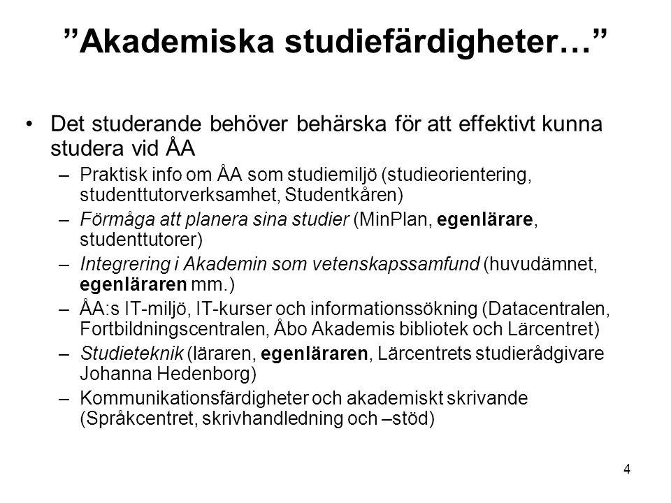 5 Introduktion till studierna och allmänna färdigheter vid ÅA/Åbo Studieorienteringsvecka –Program och material: https://www.abo.fi/student/studieorientering https://www.abo.fi/student/studieorientering Sp för introduktionskurser vid HF, TF, ESF och TkF/Ekon.utb.