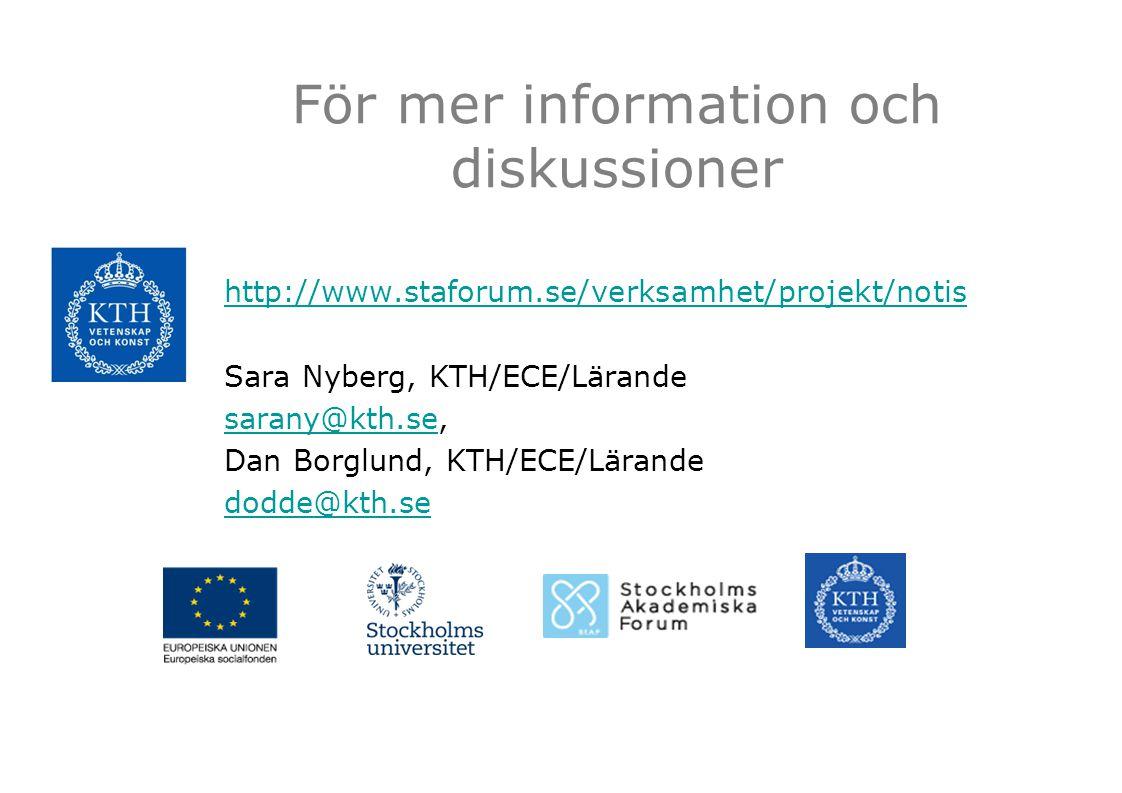 För mer information och diskussioner http://www.staforum.se/verksamhet/projekt/notis Sara Nyberg, KTH/ECE/Lärande sarany@kth.sesarany@kth.se, Dan Borg