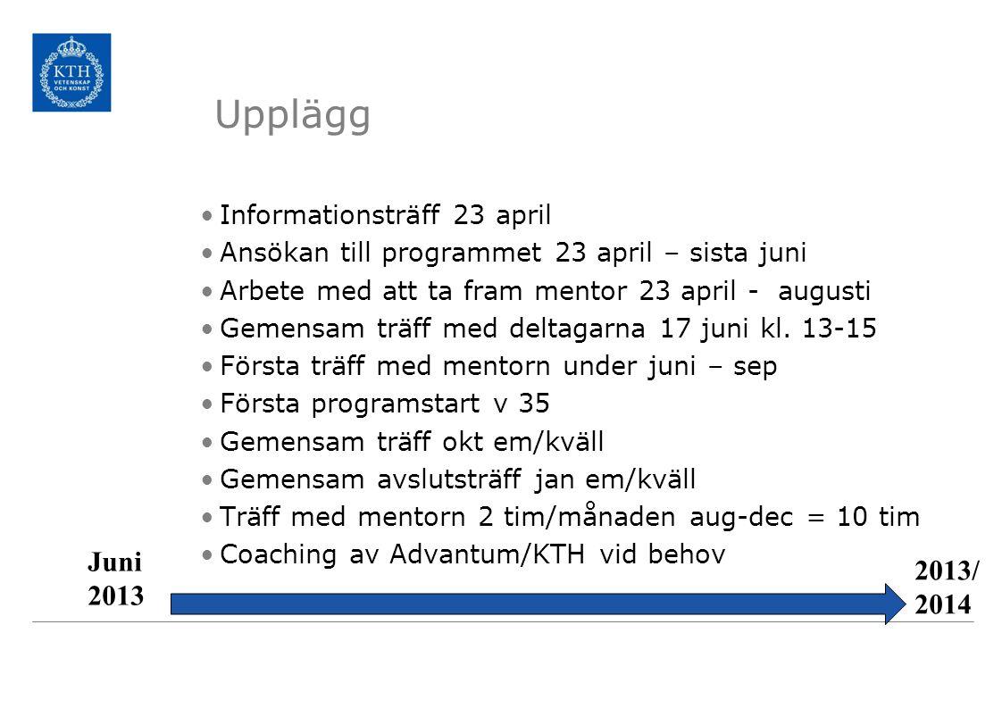 Informationsträff 23 april Ansökan till programmet 23 april – sista juni Arbete med att ta fram mentor 23 april - augusti Gemensam träff med deltagarn