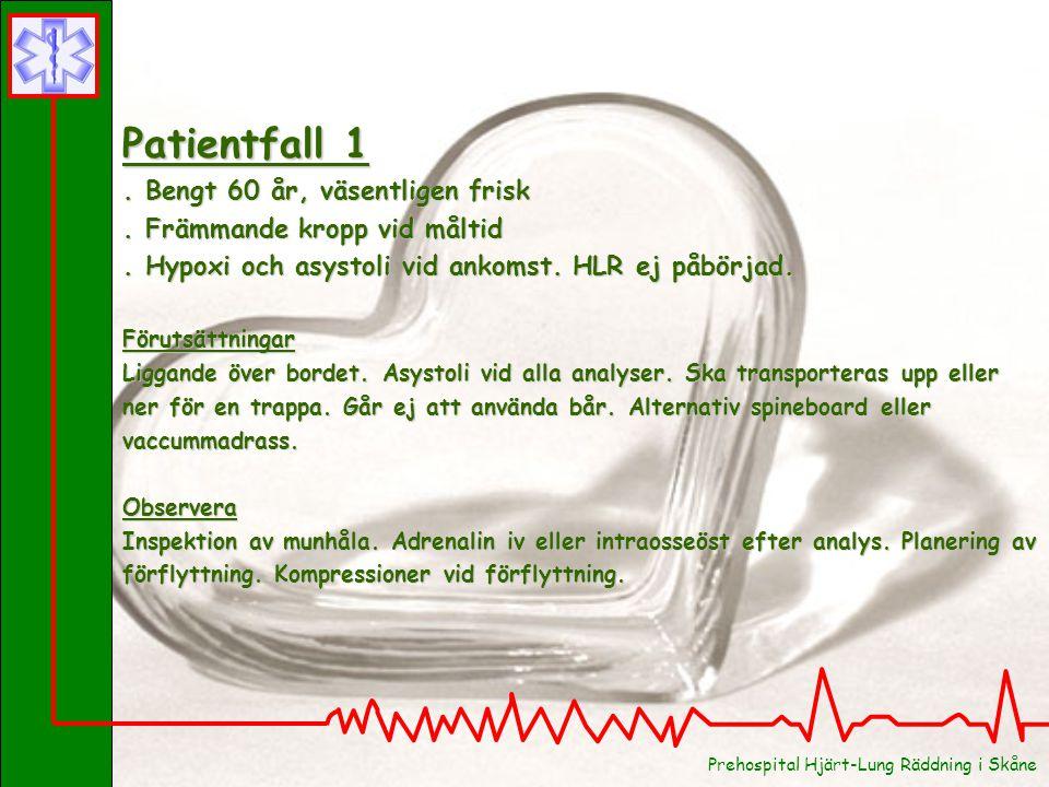 Patientfall 1. Bengt 60 år, väsentligen frisk. Främmande kropp vid måltid. Hypoxi och asystoli vid ankomst. HLR ej påbörjad. Förutsättningar Liggande