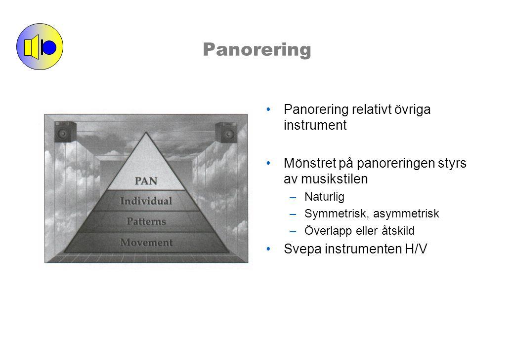 Panorering Panorering relativt övriga instrument Mönstret på panoreringen styrs av musikstilen –Naturlig –Symmetrisk, asymmetrisk –Överlapp eller åtskild Svepa instrumenten H/V