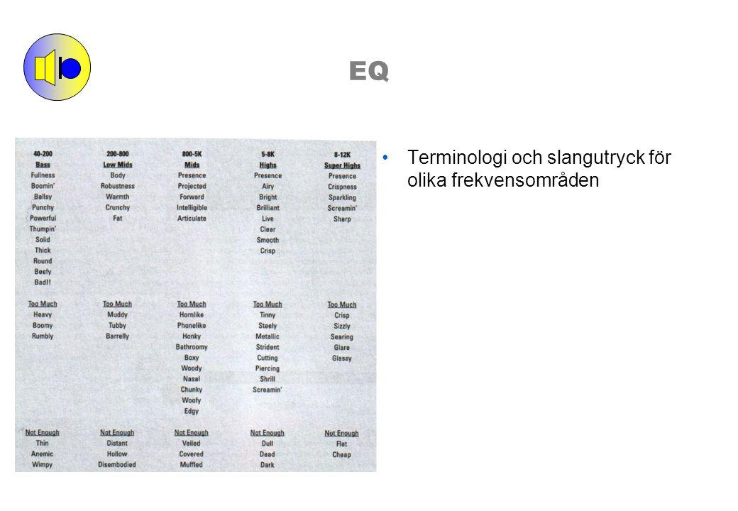 EQ Terminologi och slangutryck för olika frekvensområden