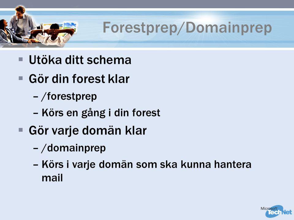 Forestprep/Domainprep  Utöka ditt schema  Gör din forest klar –/forestprep –Körs en gång i din forest  Gör varje domän klar –/domainprep –Körs i varje domän som ska kunna hantera mail