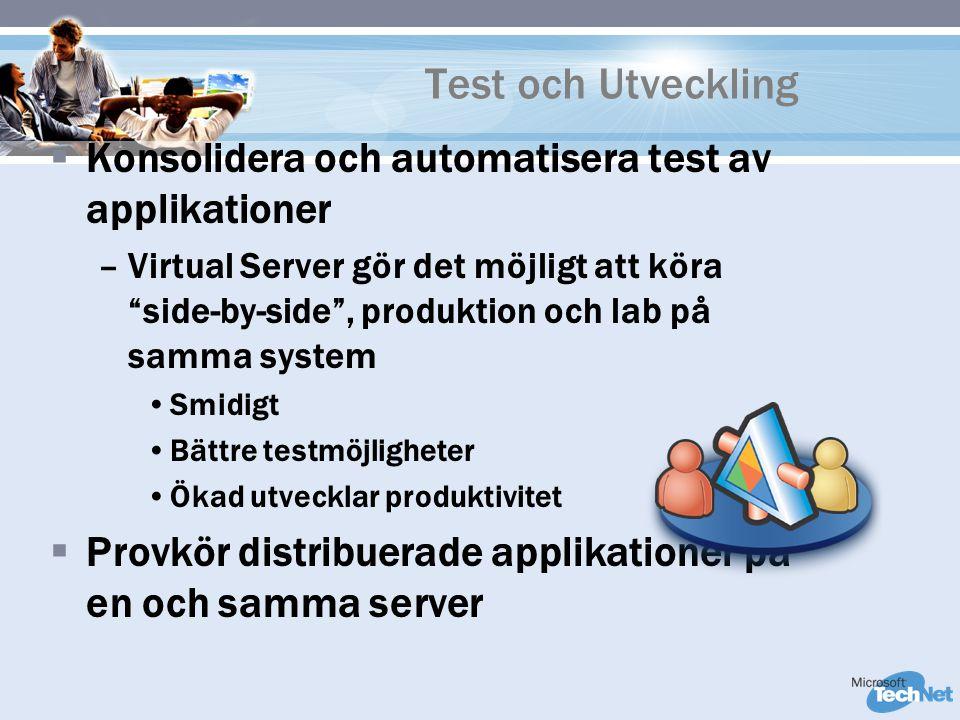 Test och Utveckling  Konsolidera och automatisera test av applikationer –Virtual Server gör det möjligt att köra side-by-side , produktion och lab på samma system Smidigt Bättre testmöjligheter Ökad utvecklar produktivitet  Provkör distribuerade applikationer på en och samma server