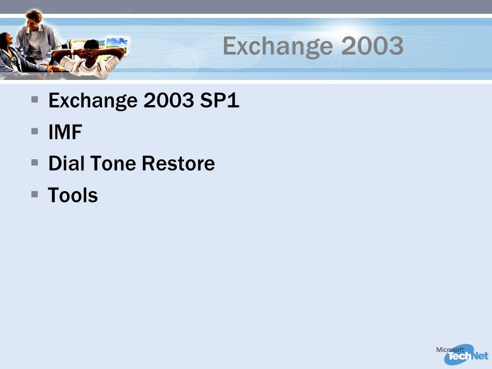 Exchange 2003  Exchange 2003 SP1  IMF  Dial Tone Restore  Tools